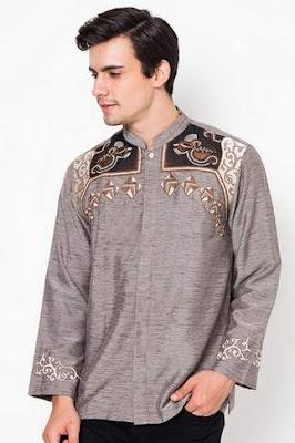 Contoh desain baju muslim pria lebaran dengan motif bordir