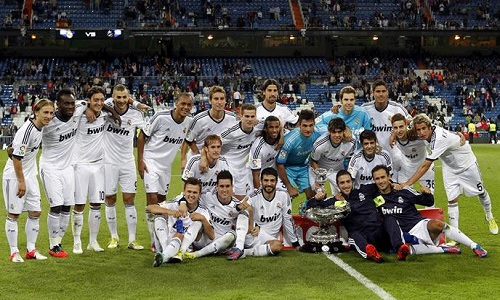 Real Madrid celebrates winning the Bernabeu Trophy 2012