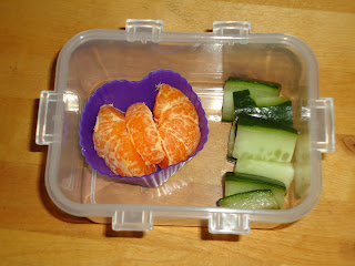Top Enders Morning snack of Clementine Butterfly and Cucumber