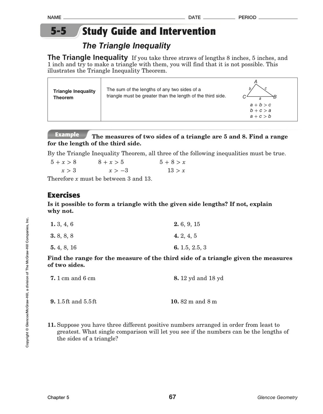 Glencoe Mcgraw Hill Geometry Worksheets Further Math Worksheet ...