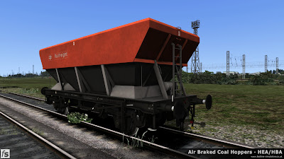 Fastline Simulation - HBA/HEA Coal Hoppers: An HEA hopper resprung from an early HBA hopper with central ladder and small supports at the hopper corners in Railfreight flame red and grey livery.