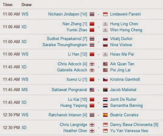 Jadwal Pertandingan BWF World Championships 2014 Hari Kedua 1