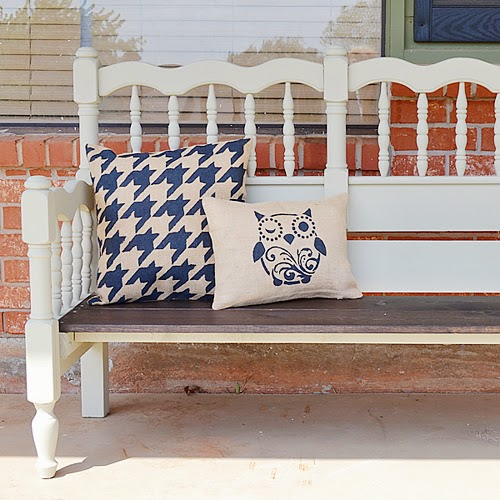 with the new burlap pillow covers from these were tons faster to make than the bench itself