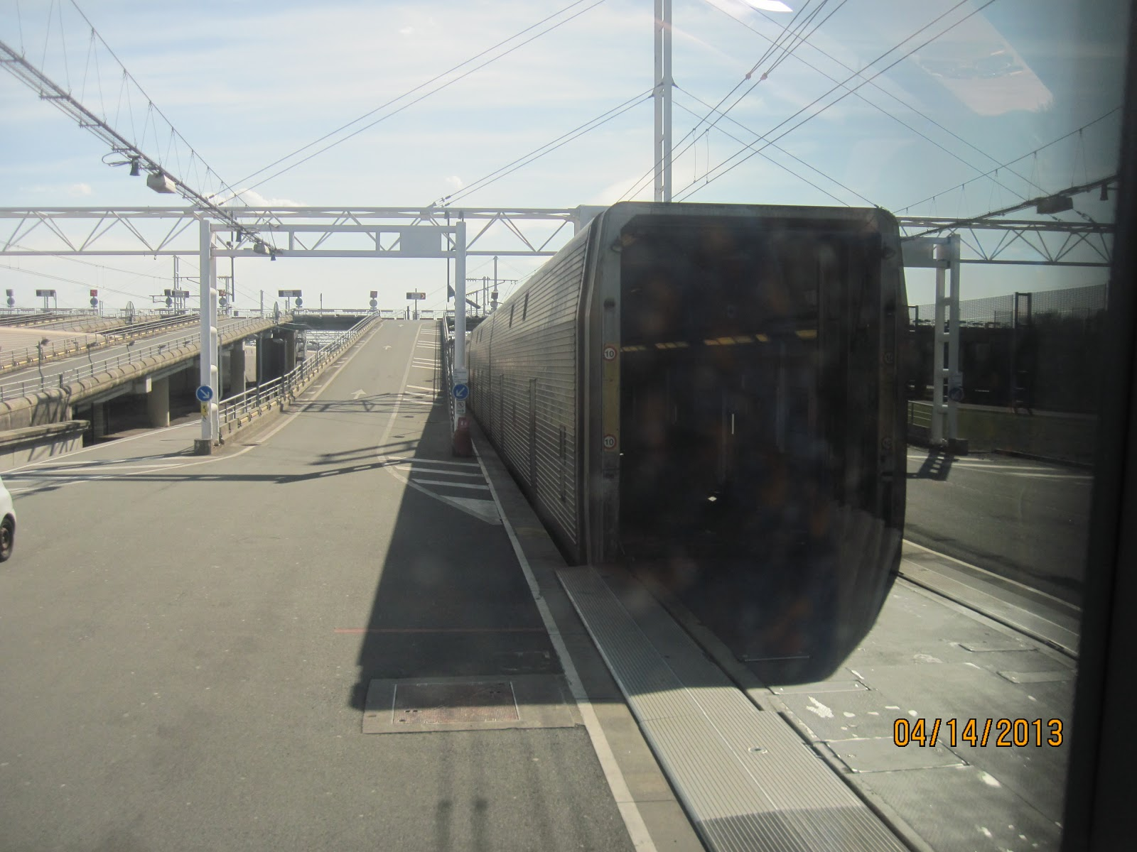 our bus enters this car and moves forward in the tunnel of the train to the last car our car on the train only has our bus