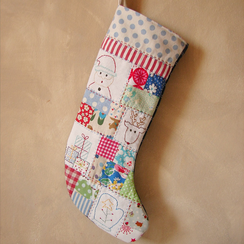 christmas stocking embroidered blue spot top - Embroidered Christmas Stocking