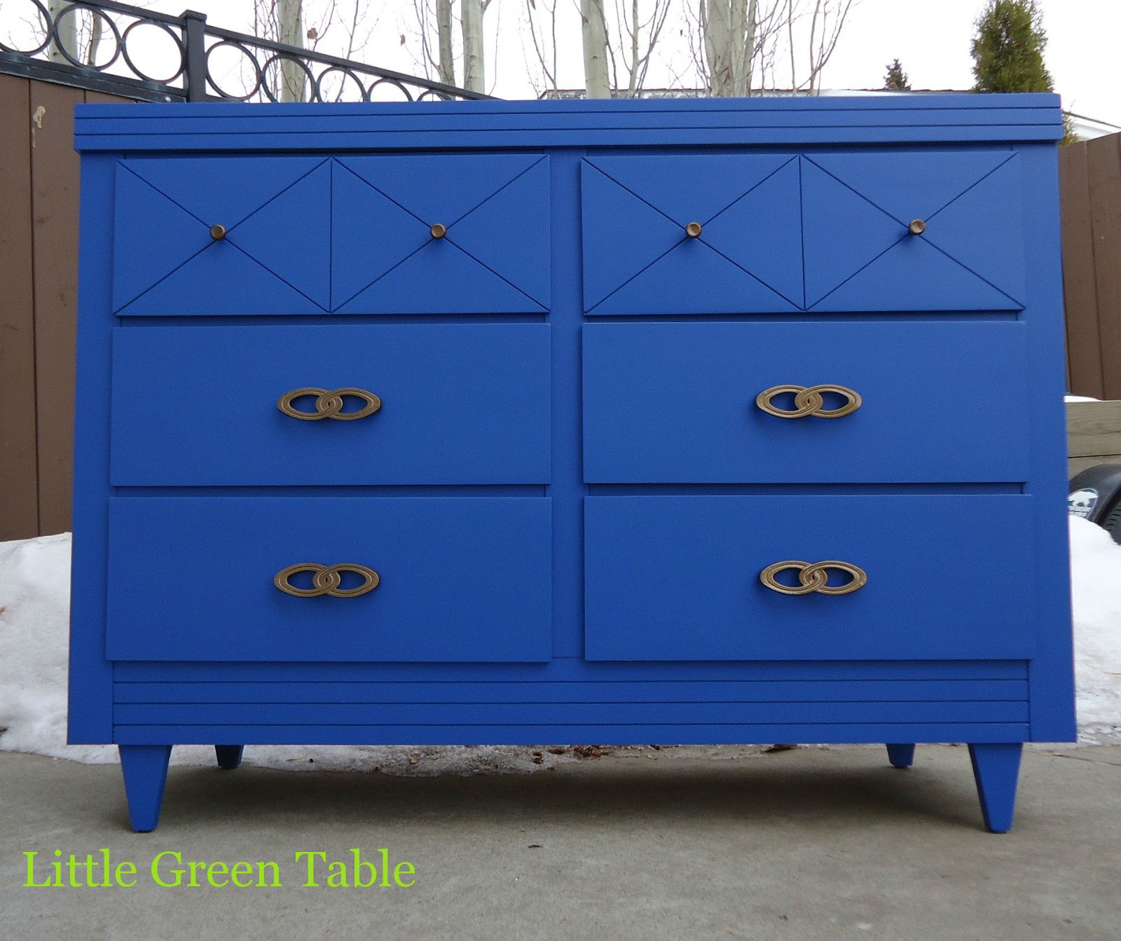 Bright Cobalt Blue Cabinet Little Green Table