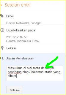 cara memasukkan dan memasang meta tag deskripsi setiap halaman posting