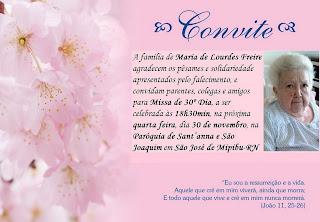 CONVITE  Missa De 30   Dia De Falecimento Da Sra  Maria De Lourdes