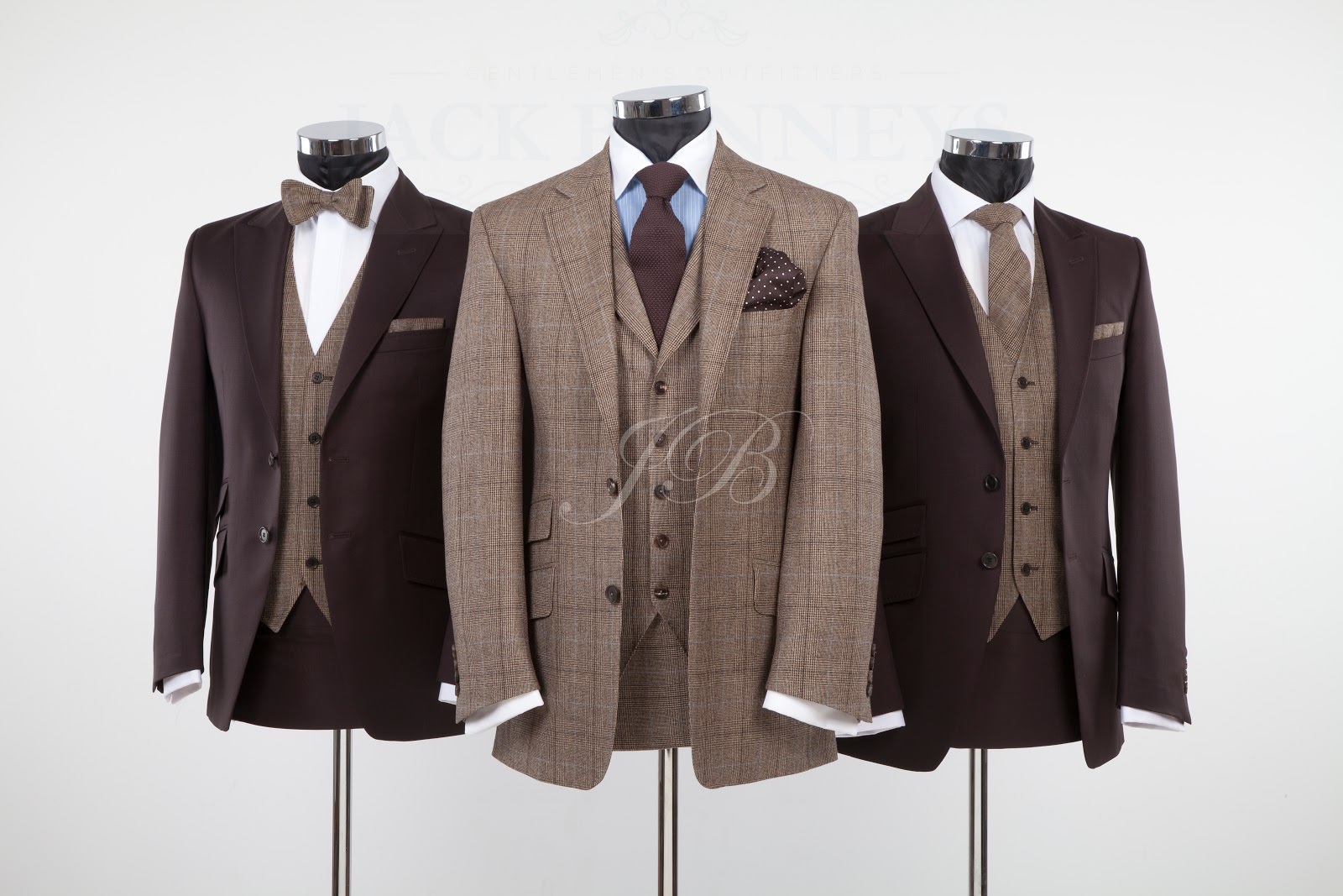 Bespoke Hire Option 1 Check Suit Made To Measure Brown