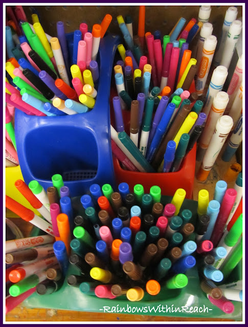 photo of: Magic Markers in Bins (Organizational RoundUP via RainbowWIthinReach)