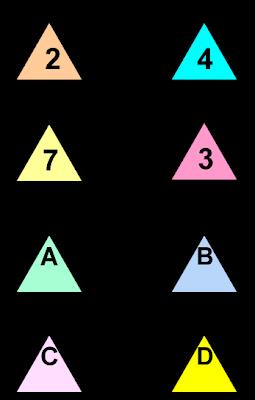 Descubre el número, Juego de triángulos, El número oculto, El número escondido