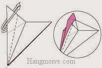 Bước 7: Mở, lộn ra và gấp hai lớp giấy về hai phía.