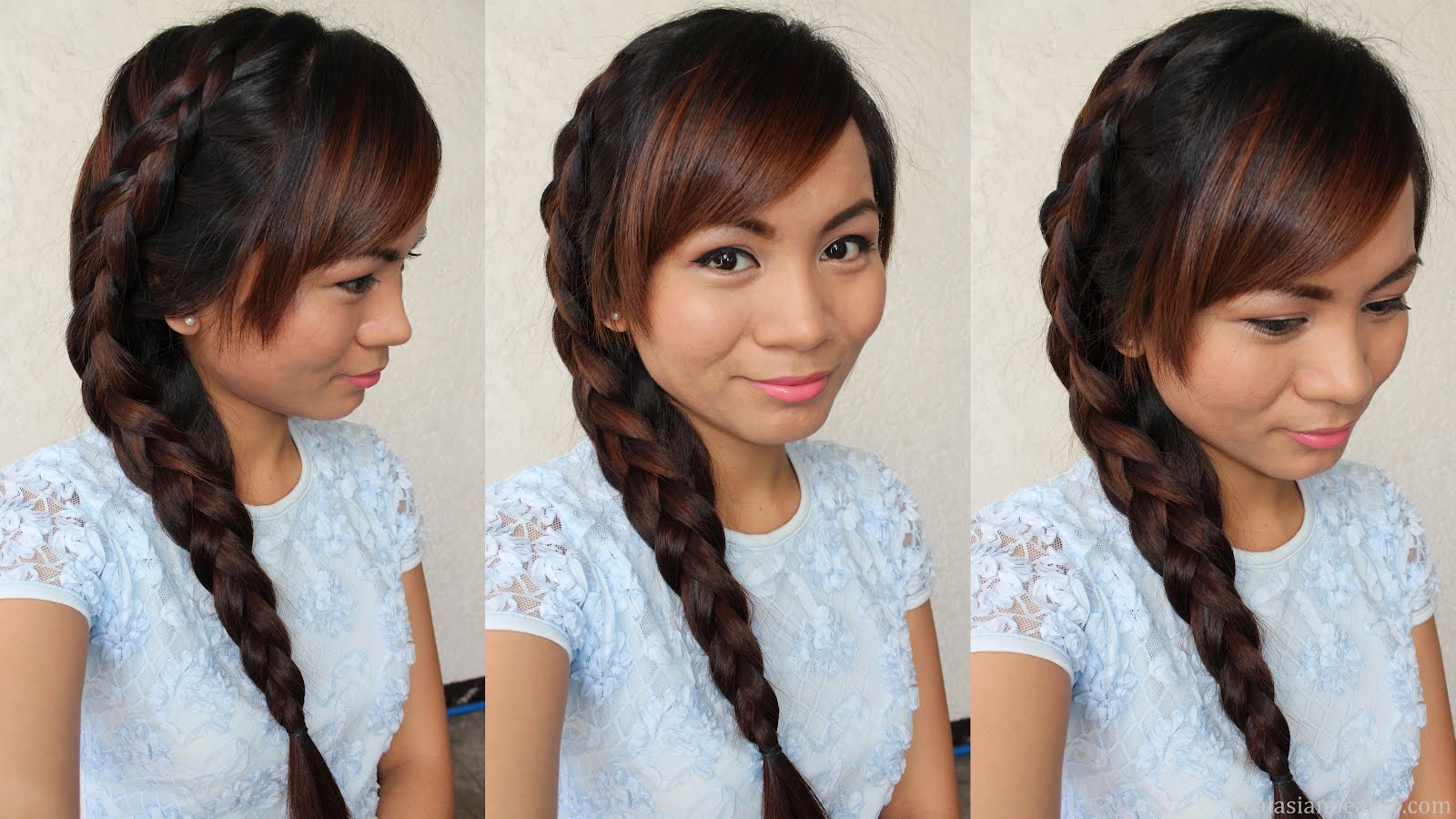 Real Asian Beauty Side Dutch Braid Hairstyle