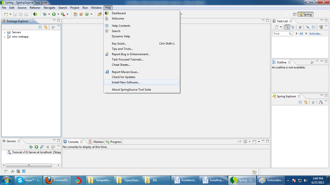 Java tuts installing tortoisesvn and integrating with sts 1 open sts click on help baditri Gallery