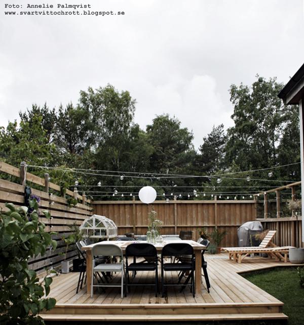 trädäck, trädgård före och efter, före och efterbilder, uteplats, altan, trädäcket, utemöbler, diy bord, trädgårdsbord, däck, ljusslingor, solsäng, solsängar, stolar, växthus, inredning, inredningsblogg, bloggar, blogg,