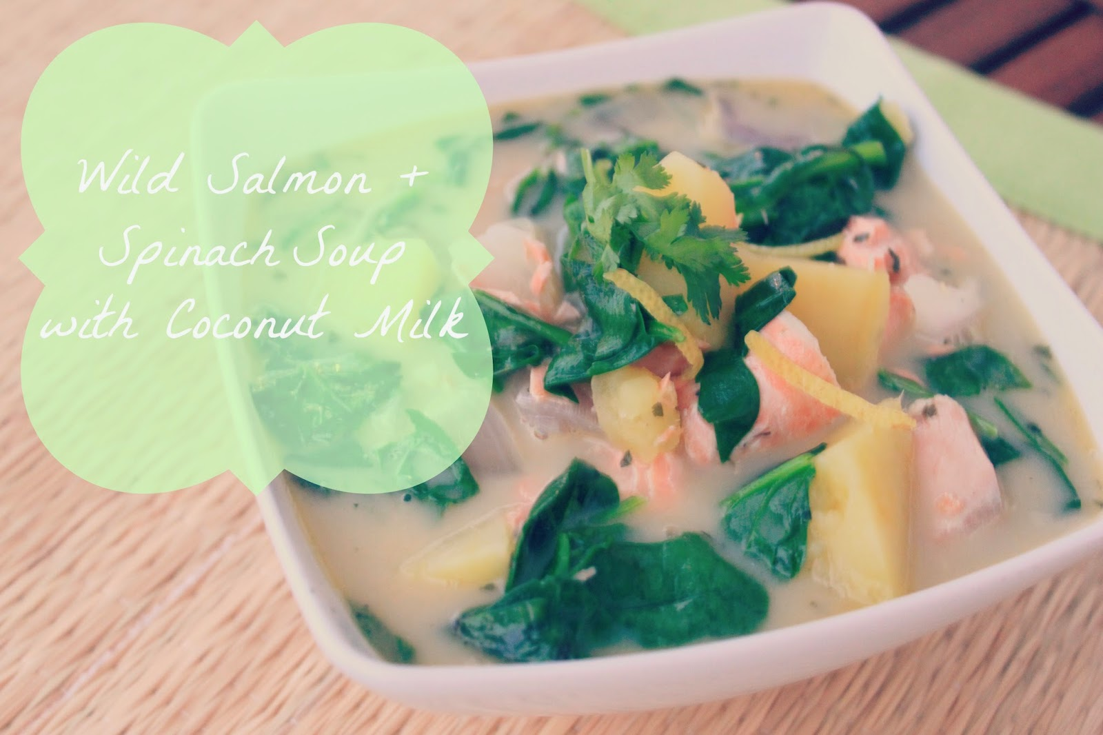Creamy spinach salmon soup with coconut milk