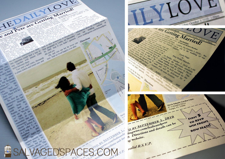 DIY Wedding Newspaper Invitations
