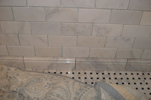 The Walls Have Marble Subway Tiles And Trim. The Floor Is Tiled With Marble  Basketweave. Hereu0027s A Peek At It. My Contractor Put A Quilt Over It While  He Was ...