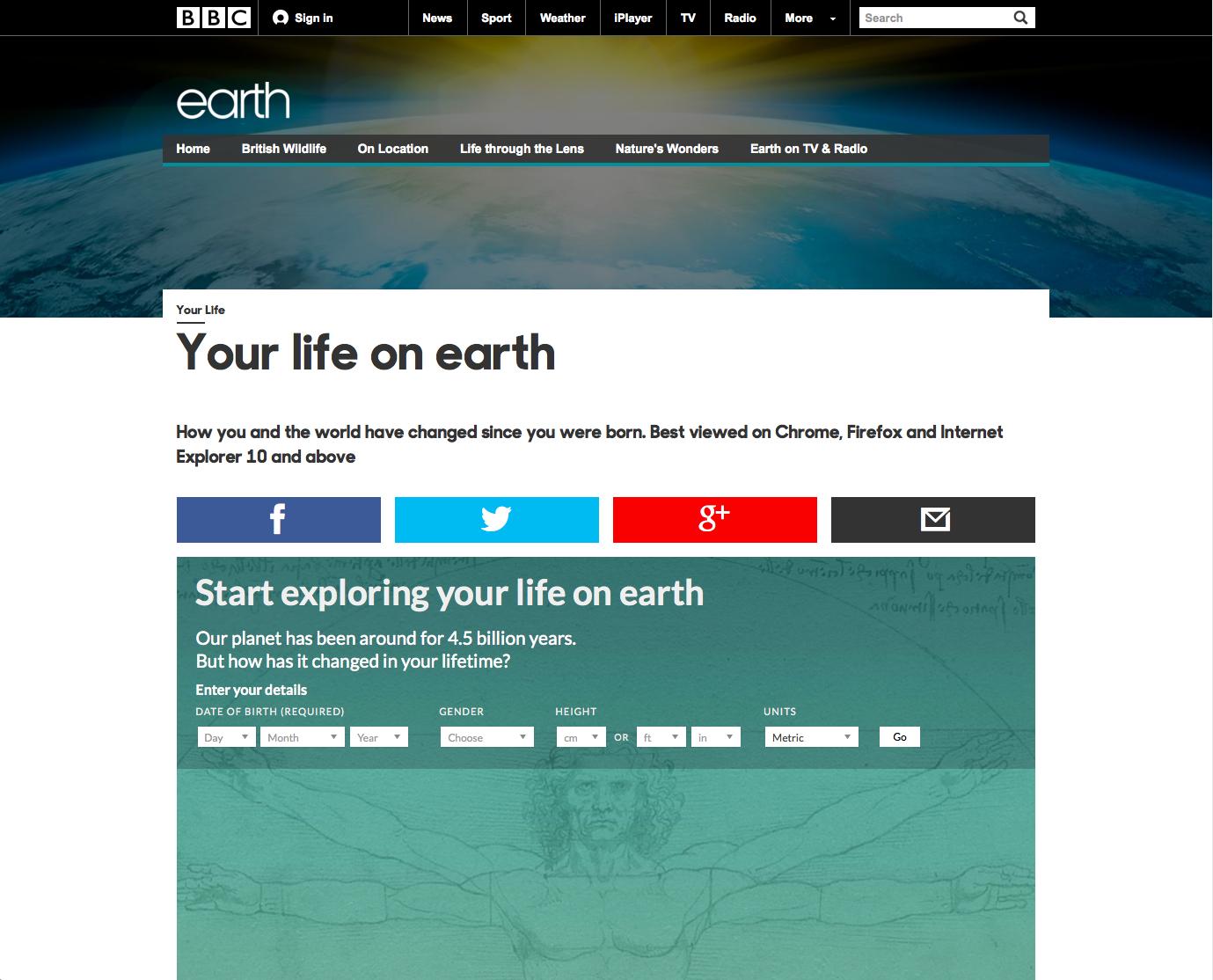 A sua vida na Terra