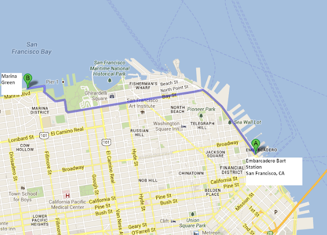 map from Embarcadero Bart Statioin to America's Cup Village at Marina Green