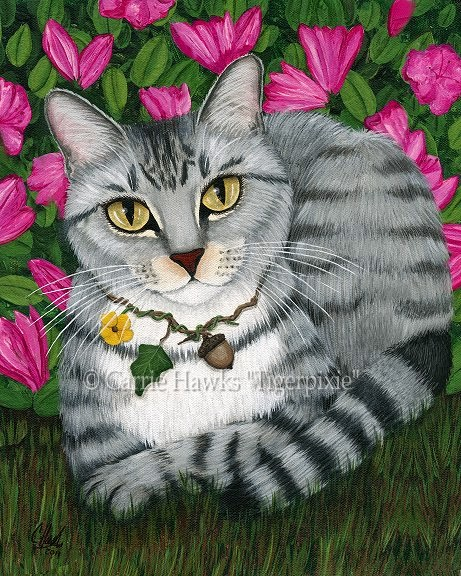 Garden Cat, Silver Tabby Cat by Carrie Hawks Tigerpixie
