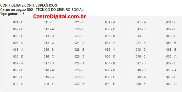 IMAGEM - Gabarito oficial do concurso do INSS 2011/2012 - Cargo Técnico do Seguro Social - Tipo 03