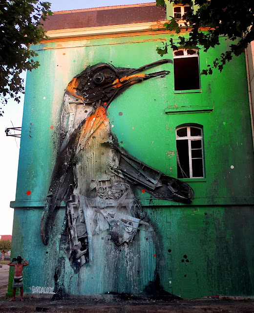 Bordalo II is currently in France where he was invited to work his magic on the side of a building in the city of Bordeaux for the Ocean Climax Festival.