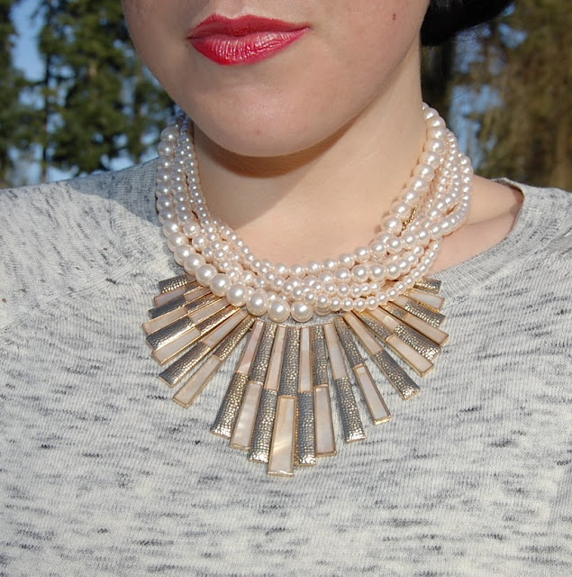 Forever 21 pearl necklace, gold matchstick necklace and red lipstick