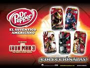Dr. Pepper y sus latas con diseños para Iron Man 3 (latas iron man )