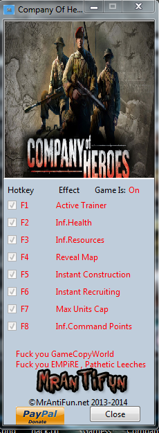 Company Of Heroes New Steam V2.700.2.30 Trainer +7 MrAntiFun