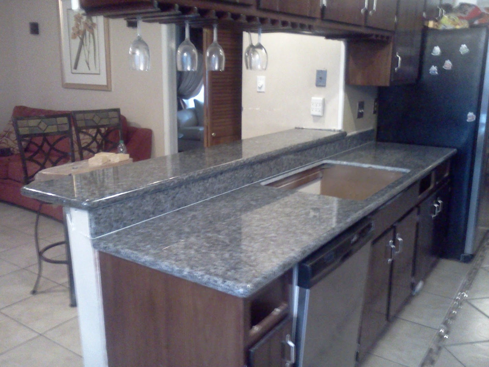 Kitchen style blue pearl granite countertop for Kitchen countertops