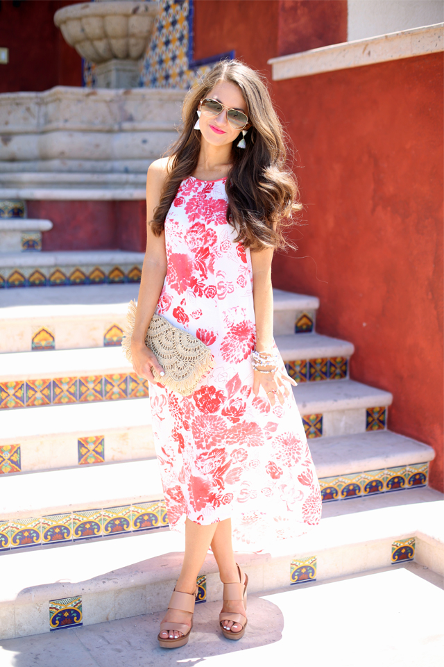 pretty floral maxi dress for vacation
