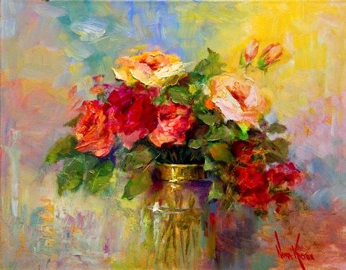 Imágenes Arte Pinturas: FLORES ROJAS OLEO