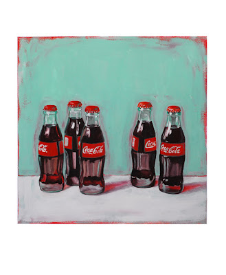 coca-cola classic painting of five coke bottles