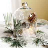 pine and pinecones under glass Christmas table