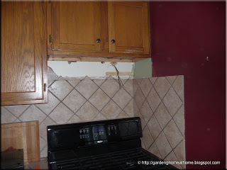 space where old range hood was removed