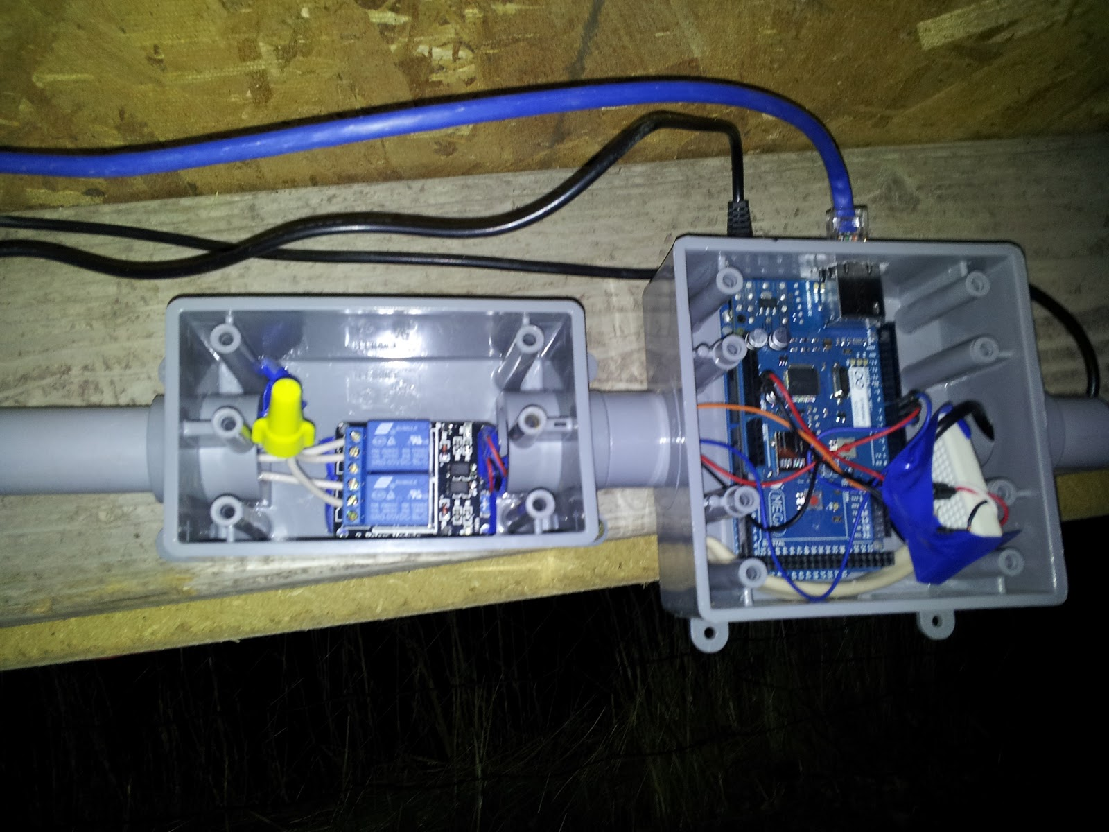 Automated Chicken Coop Cluckin Arduino Ethernet Switch Relay View Of Mega And Relays Blue Wire Power On Top