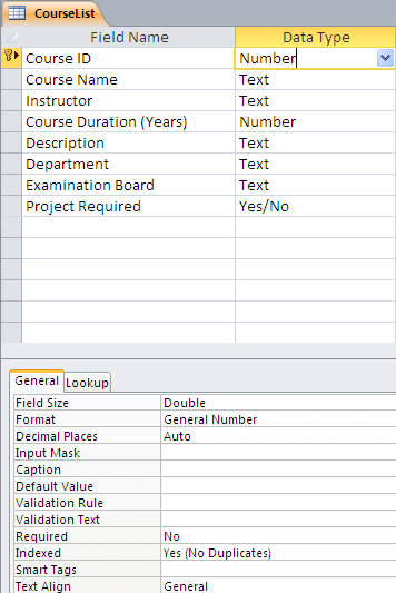 Student management module ms access cs101 phase 3 for Table design view access