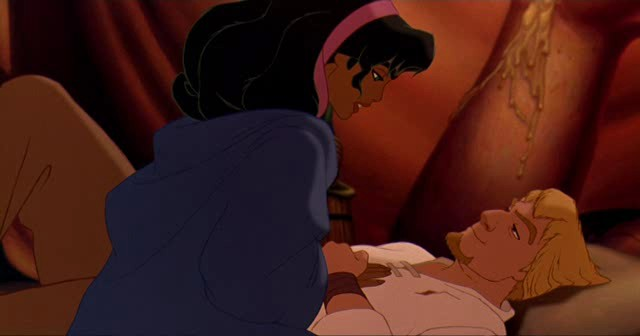 Esmeralda comforting Phoebus The Hunchback of Notre Dame 1996 animatedfilmreviews.blogspot.com