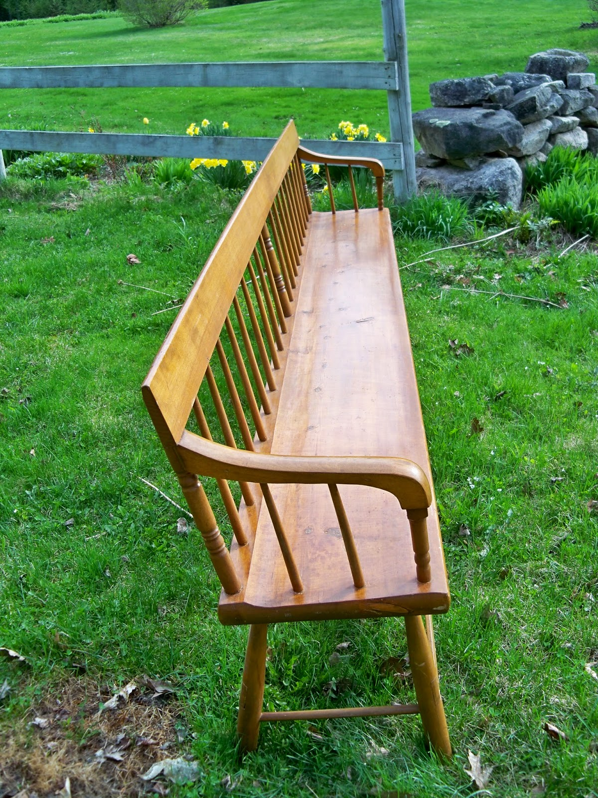 Antique wood bench with back - Wood Maple Long Vintage Hall Bench Country Style New England