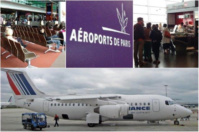 Sala de espera, cola en cafetería, avión Air France – Aeropuerto Roissy Charles de Gaulle, Paris