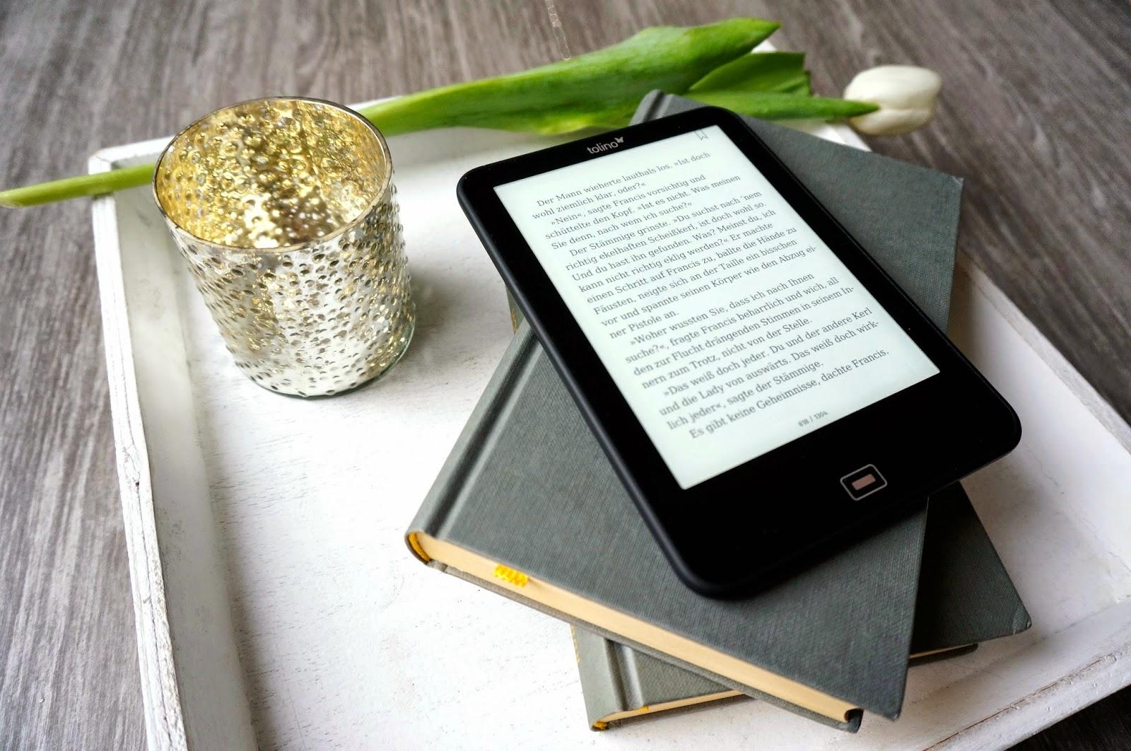 Tolino Vision 2 Kerzenglas Tablett Bücher