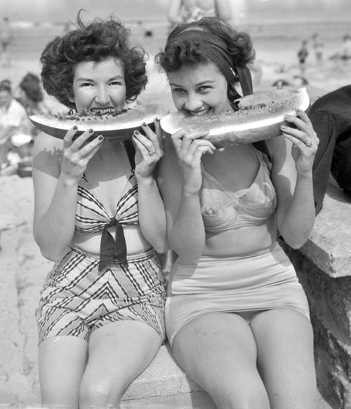 vintage summer watermelon bobbins and bombshells