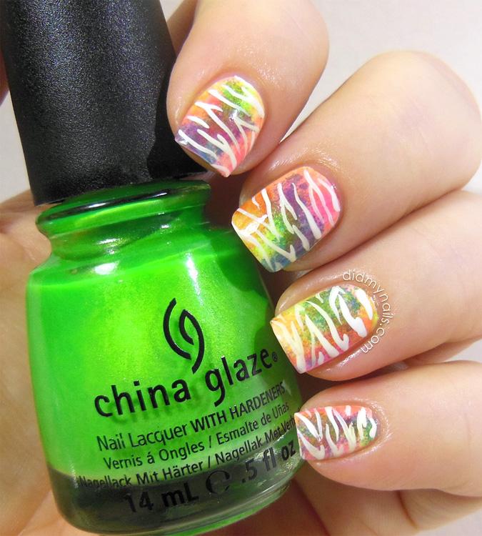 neon zebra stripe nail art