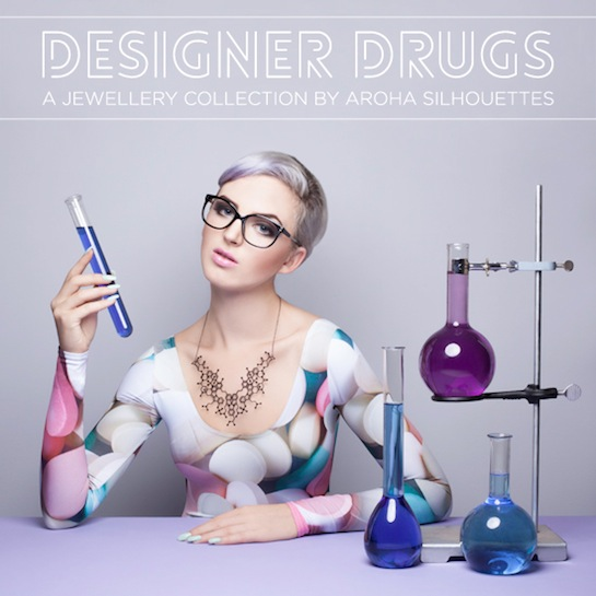 Aroha Silhouettes, Designer Drugs, Overdose Necklace, MDMA, Psylocybin, Cocaine, THC, MDMA, DMT, LSD, illicit, drugs, necklace, molecule, stainless steel, silver, gunmetal, black, supermolecules, laboratory