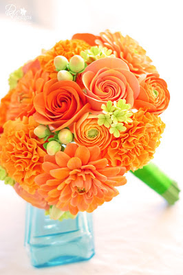 orange bridal bouquet, orange clay flowers