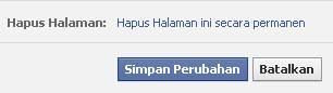 Menghapus Halaman Fans Page Facebook