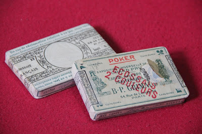 antique French playing cards with wrappers