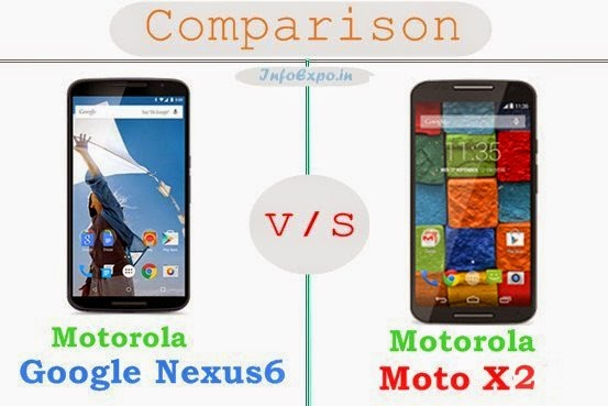 Motorola Google Nexus 6 versus Motorola Moto X2 specifications and features comparison RAM,Display,Processor,Memory,Battery,camera,connectivity,special feature etc