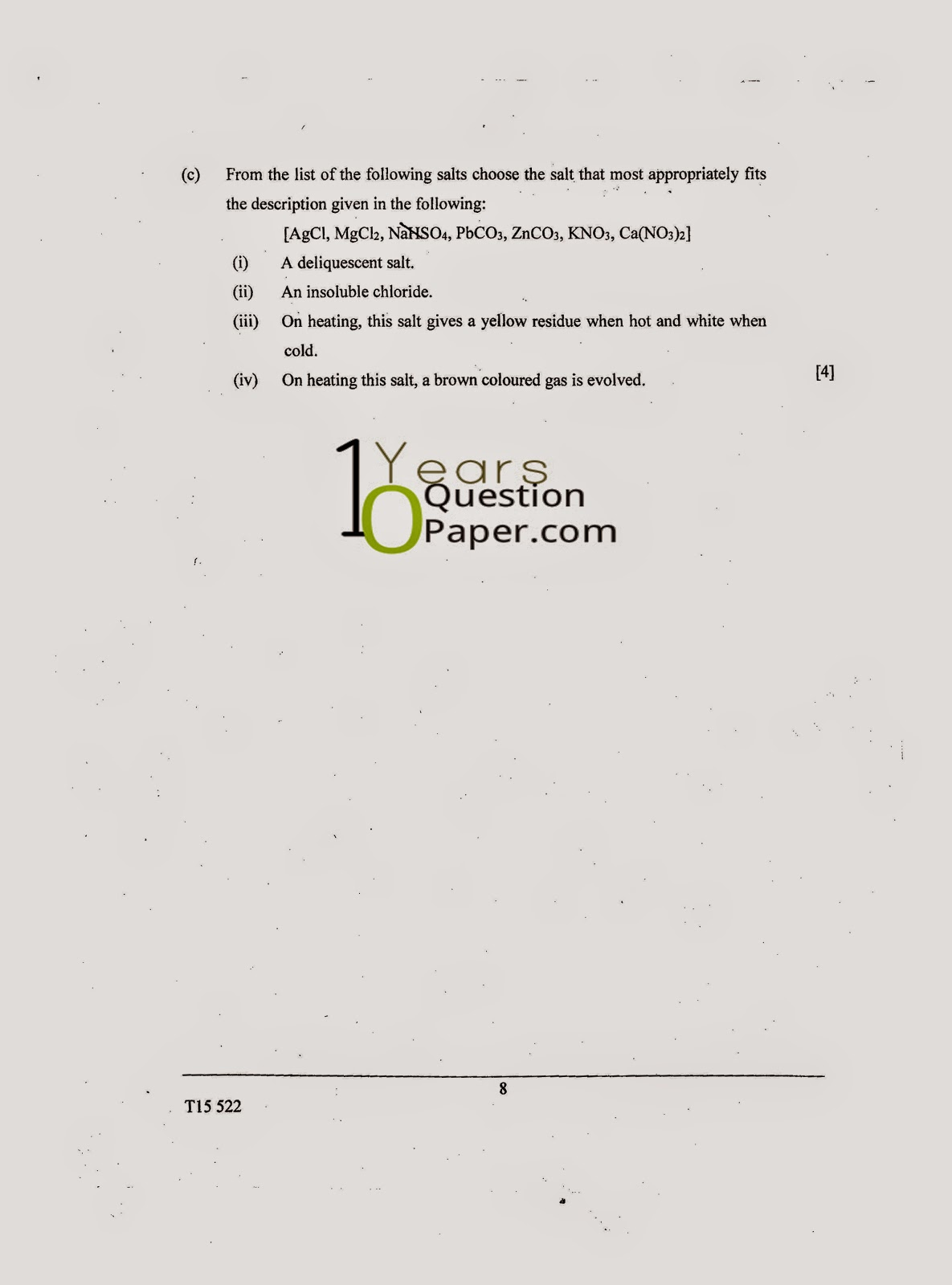 icse 2015 class 10th science chemistry paper 2 question paper